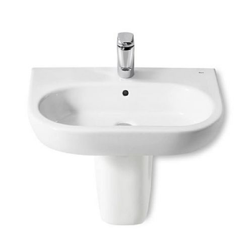 Roca Meridian-N Round Basin With Semi Pedestal - 550mm - 1 Tap Hole - White